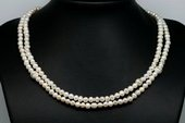 RPN404 Classic Potato White Pearl Long Strand Sterling Silver Necklace