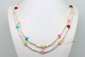Rpn405 Hand Knotted Multicolour Cultured Pearl Long Necklace in wholesale