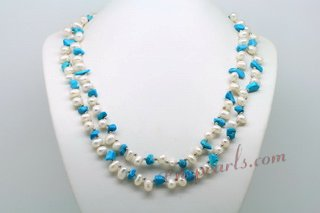 Rpn406 Long Strand White Dancing Pearl Rope Necklace with Turquoise Chips