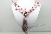 Rpn407 A rose quartz lariat style necklace with pink and peach pearls and shell