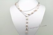 Rpn408 Purple Color Freshwater Nugget Pearl Long Silver Toned Chain Necklace