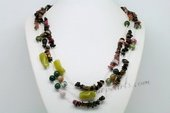Rpn409 Hand Strung Muliti-color Gemstone Design  Rope Necklace