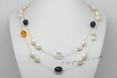 Rpn43 Elegance Genuine Gems and Rice Pearls Sterling Silver Chain Necklace