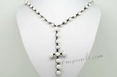 RPn415 Stylist Hand Knitted Cultured Pearl Corss Opera Necklace