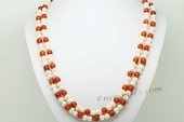 Rpn418 Hand Kontted Cultured Pearl and Red Agate Rope Necklace