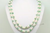 Rpn420 Hand Kontted Cultured Potato pearl and Jade Rope Necklace
