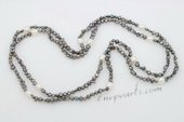 Rpn422 Hand Knotted Black Nugget Seed Pearl Rope Necklace