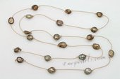 Rpn425 Classic Light Brown Baroque pearl and Cord Rope Necklace