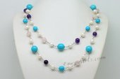 Rpn426 Elegance Hand Crafted Pearl and Gemstone Rope Necklace