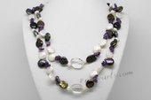 Rpn427 Freshwater Pearl Necklace with Coin Pearl, Amethyst & Crystal