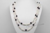 Rpn429 White and Black Culutred Pearl Rope Necklace with Crystal Beads