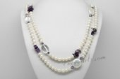 Rpn430 Freshwater Pearl Necklace with Large Coin Pearl and Amethyst