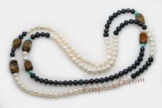 Rpn436 Freshwater Pearl Rope Necklaces with Black & White Pearls& Tiger Eye