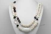 Rpn439 Freshwater Pearl Rope Necklace with Baroque Pearl & Crystal