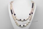 Rpn441 Freshwater Pearl Necklace with 7-8mm Rice Purple Pearl and Amethyst