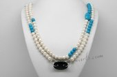 Rpn442 Freshwater Pearl Necklace with 8-9mm White Pearl, Turquoise & Black Agate