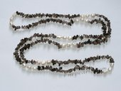 Rpn448  Elegant Baroque Nugget Pearl Rope Necklace With Smoky Quartz Chip