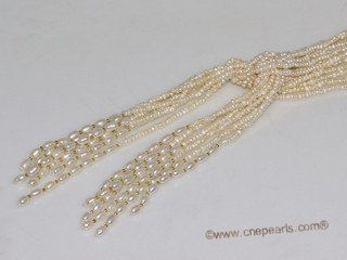 rpn452  Six Strand   freshwater seed pearl Long Style  scarf Necklace