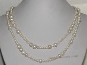 "Rpn453 36"" Long Rope Style Natural White Cultured Freshwater Pearl Bead Chain Necklace"