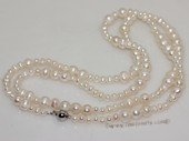 rpn455  Long Rope Style Natural White Cultured Freshwater Pearl Necklace