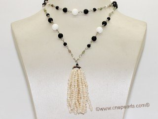 rpn456 Designer man made gemstone beads rope necklace with 3-4mm button pearl