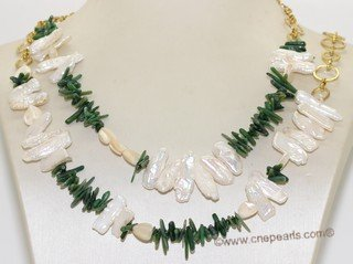 rpn457 Hand Wired Freshwater Biwa Pearl and Gemstone Rope Necklace
