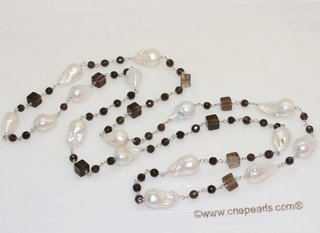rpn458 Larger nucleated pearl necklace hand wired   with smoking quartz