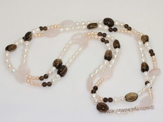 rpn459 Freshwater Potato and Rice Pearl Rope Necklace with  Smoky Quartz