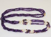 Rpn460 Fashion purple amethyst beads  & white nugget  pearl Rope Necklace