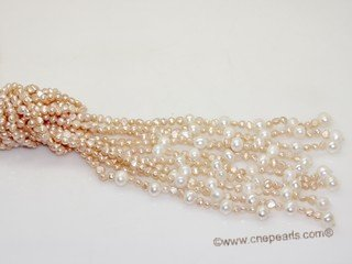 rpn461  Five Strand   freshwater nugget  pearl Long Style  scarf Necklace