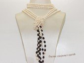 rpn462  Three Strand   freshwater rice  pearl Long Style  scarf Necklace