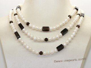 rpn463 Freshwater Potato Pearl Rope Necklace with  Smoky Quartz