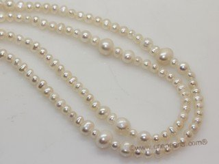 rpn464  Long Rope Style Necklace With Natural White Cultured Freshwater Pearl