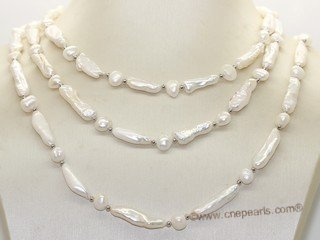 Rpn466 Style  White Color Biwa Pealr Rope Necklace with Nugget Pearl