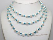 Rpn471 Long Strand Potato Pearl Rope Necklace with Turquoise Beads