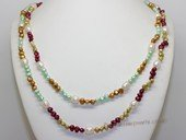 rpn472 Freshwater Rice and Nugget Pearl Rope Necklace in Multi-Color