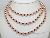 Rpn473 Long Strand Potato Pearl Rope Necklace with Coral Beads