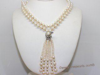 rpn474 hand knotted 8-9mm and 5-6mm button pearl  opera necklace
