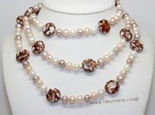 rpn475 Hand knotted 8-9mm Freshwater potato pearl rope customer neckace