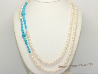 rpn477 Freshwater Potato Pearl Rope Necklace with  Turquoise Beads