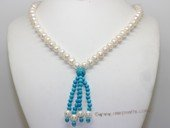 rpn479 hand knotted 8-9mm potato pearl and turquoise  opera necklace