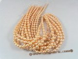 rs13 natured pink 7.5-8.5mm rice shape cultured pearl strands in wholesale