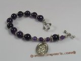 "rybr002 Beautiful 8"" Deep purple amethyst rosary bracelet"