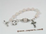 rybr006 Rose quartz and crystal beads rosary bracelet in wholesale