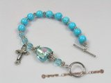 rybr011 Blue turquoise and Bali silver rosary bracelet