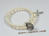 rybr012  Hand-wrapped white rice pearl rosary bracelet in wholesale