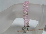 rybr014 Hand-wrapped pink faceted crystal rosary bracelet with silver spacer