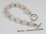 rybr015 Rose quartz and Bali silver rosary bracelet on sale