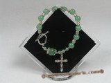 rybr017 handcrafted Rosary bracelet made of green jade beads