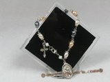 rybr018 Wire-wrapped 6-7mm multicolor rice-shape pearl rosary bracelet